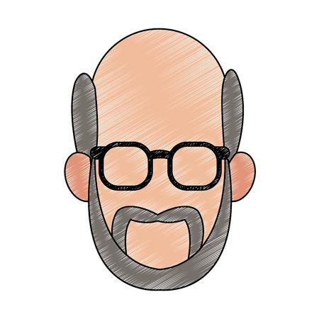 Old man faceless with glasses icon vector illustration graphic design Ilustração