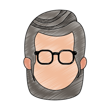 Old woman faceless with glasses icon vector illustration graphic design  イラスト・ベクター素材