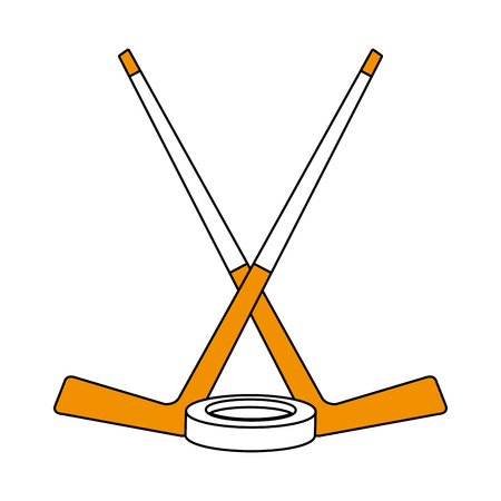 Hockey stick with puck icon vector illustration graphic design