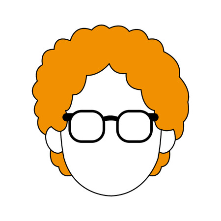 Old woman smiling cartoon icon vector illustration graphic design