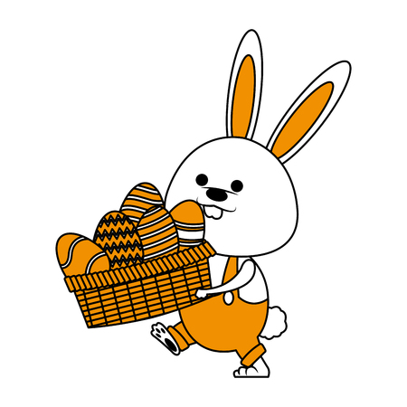 Cute rabbit holding basket with easter eggs icon vector illustration graphic design