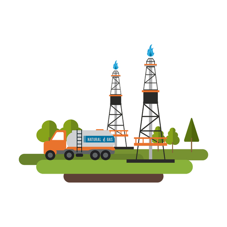 Natural gas factory vector illustration graphic design