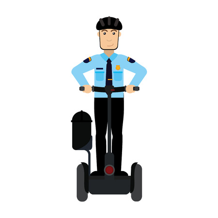 Officer on two wheels electric scooter vector illustration graphic design