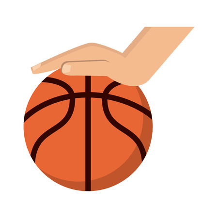 Hand with basketball ball vector illustration graphic design