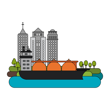 Natural gas ship on port vector illustration graphic design Illustration