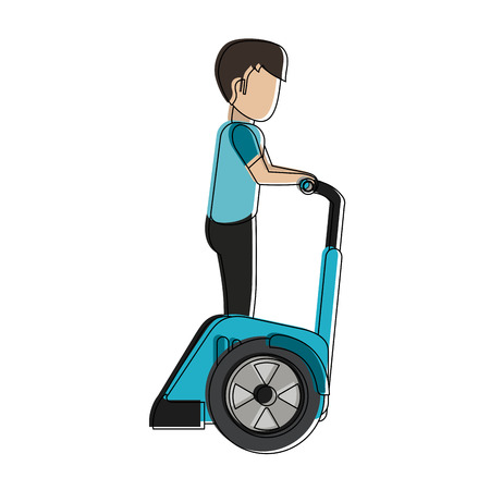 Man on two wheels electric scooter vector illustration graphic design Illustration