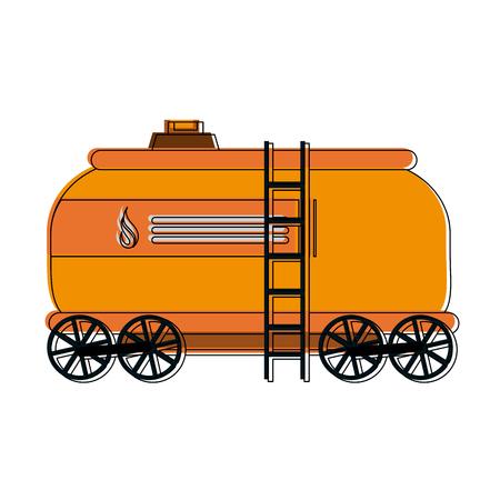 Natural gas tank on train wagon vector illustration graphic design