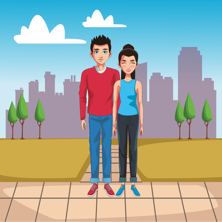 Young couple cartoon in the city vector illustration graphic design Çizim