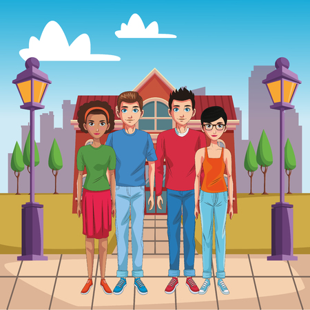People in town cartoon vector illustration graphic design