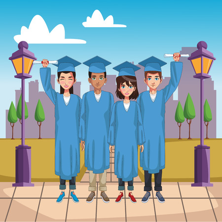 Students on graduation cartoons vector illustration graphic design