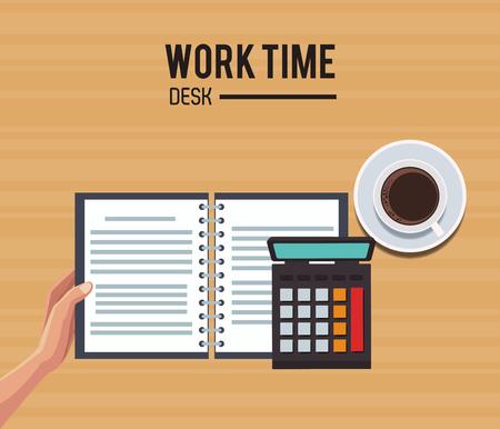 Work time desk vector illustration graphic design