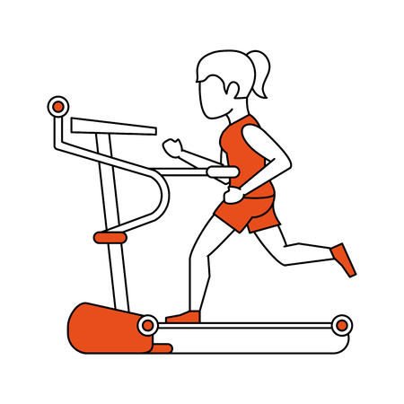 Walking machine gym equipment vector illustration graphic design