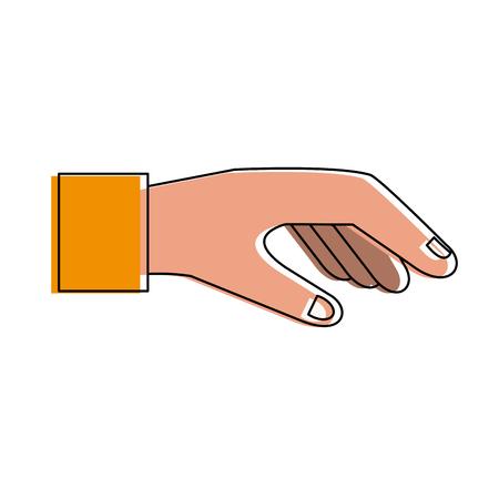 Hand met grafisch ontwerp van de palm het open vectorillustratie
