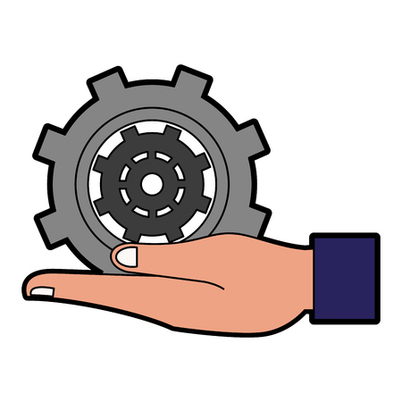 Hand with gear vector illustration graphic design