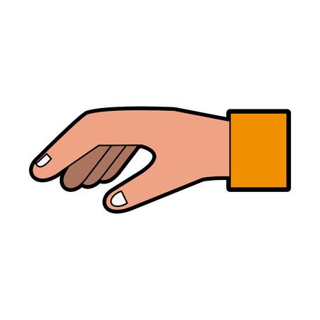 Hand met grafisch ontwerp van de palm het open vectorillustratie.