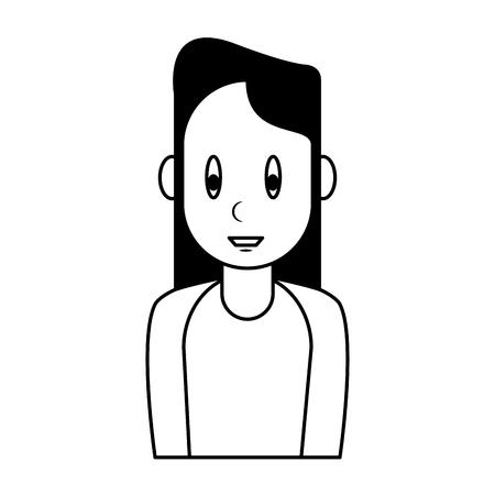 Young woman cartoon vector illustration graphic design Vectores