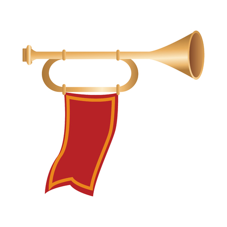 Medieval trumpet with flags symbol vector illustration graphic design Çizim