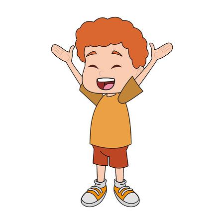 Cute school boy cartoon vector illustration graphic design Illustration