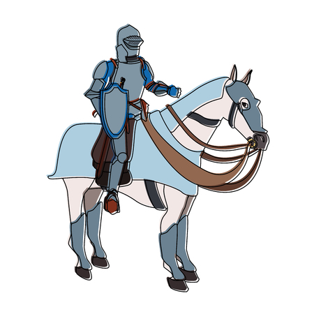 Medieval warrior on horse vector illustration graphic design