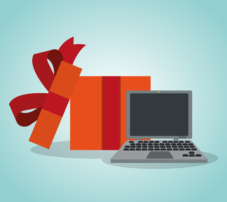 Gift box with laptop vector illustration graphic design 向量圖像