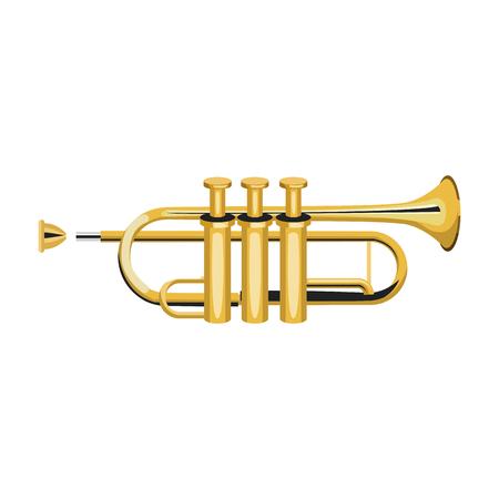 Trumpet music instrument vector illustration graphic design Vectores