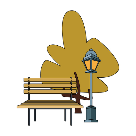 Wooden chair on park illustration