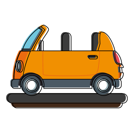 Funny small car cartoon vector illustration graphic design Stock Illustratie