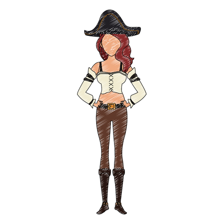 Woman pirate costume vector illustration graphic design