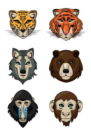 Wild animals heads cartoon vector illustration graphic design