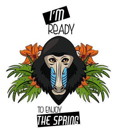 Mandrel monkey with flowers vector illustration graphic design