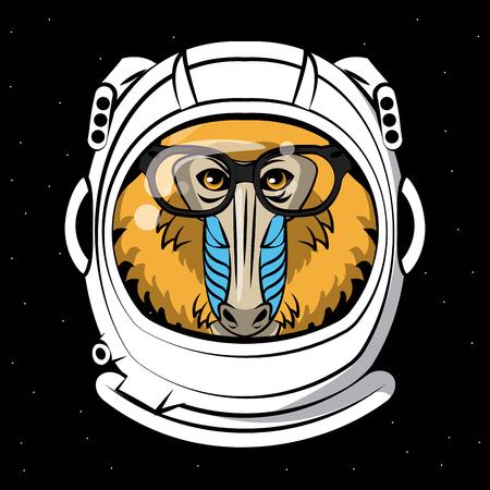 Cool mandrel monkey on astronaut helmet print for t shirt vector illustration graphic design