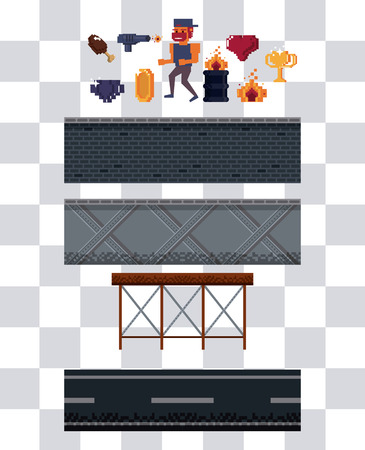 Pixelated character and elements for videogame scenery Ilustração