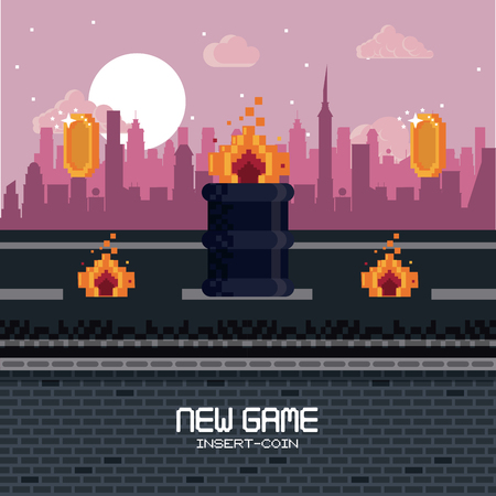 Pixelated city videogame fight scenery with coins