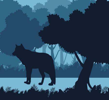 Wolf in the jungle blue silhouette vector illustration graphic design Stock Illustratie