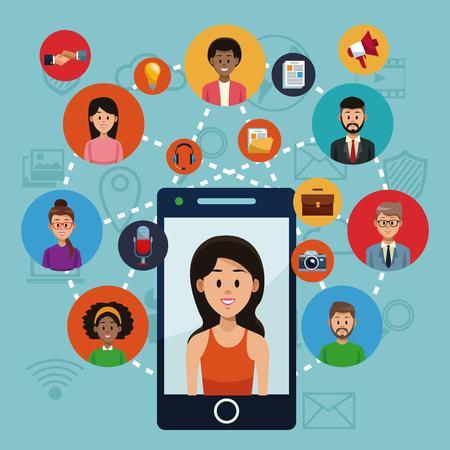 Smartphone and social media vector illustration graphic design Vetores