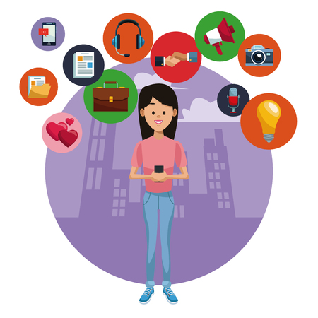 Woman with smartphone on social media vector illustration graphic design