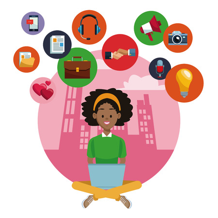 Woman with laptop on social media vector illustration graphic design Illustration