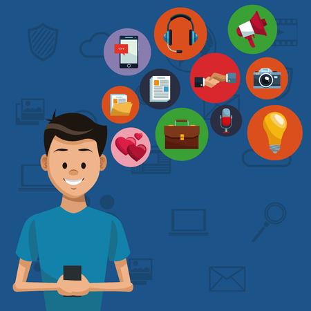 Man with smartphone on social media vector illustration graphic design Vetores