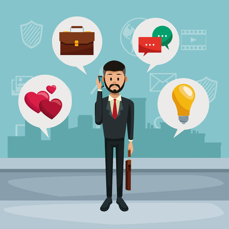 Businessman using smartphone vector illustration graphic design