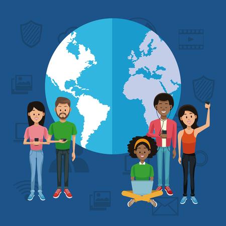 People around the world on social media vector illustration graphic design Illustration