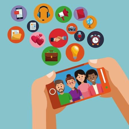 Using smartphone for social media vector illustration graphic design