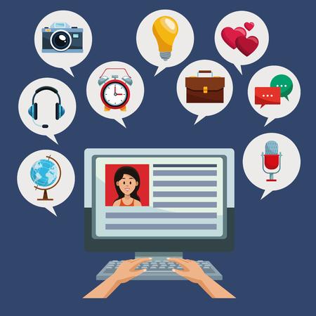 Using computer for social media vector illustration graphic design Ilustração