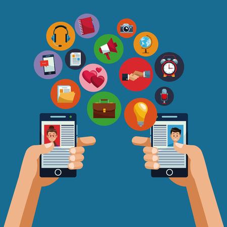 Smartphones and social media vector illustration graphic design