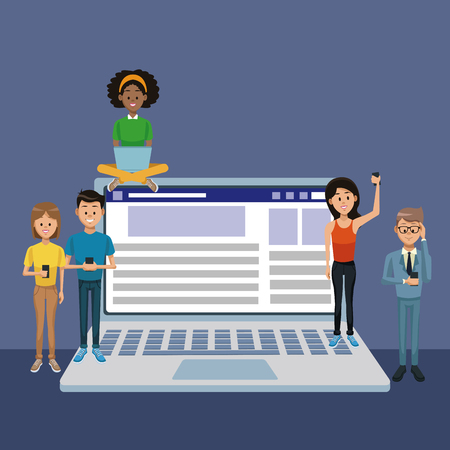 Young people on social media vector illustration graphic design