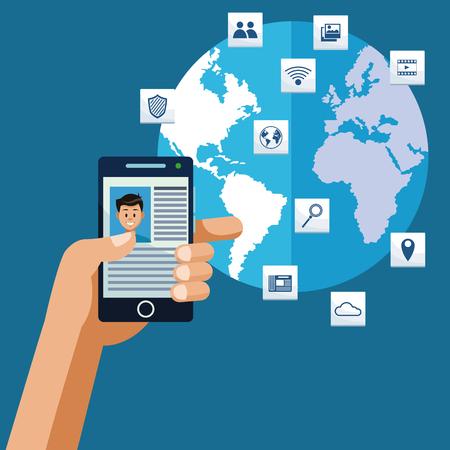 Navigating internet from ssmartphone vector illustration graphic design
