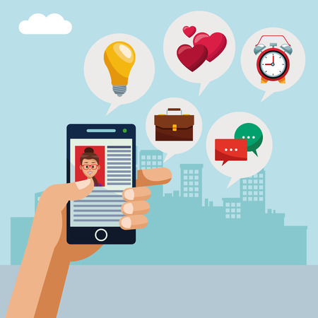 Using smartphone for social media vector illustration graphic design