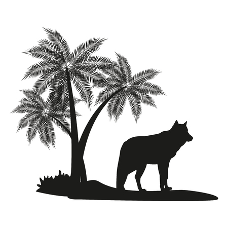 Wolf and palm tree black silhouette vector illustration graphic design
