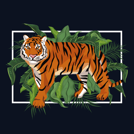 Tiger in the jungle vector illustration graphic design Vectores