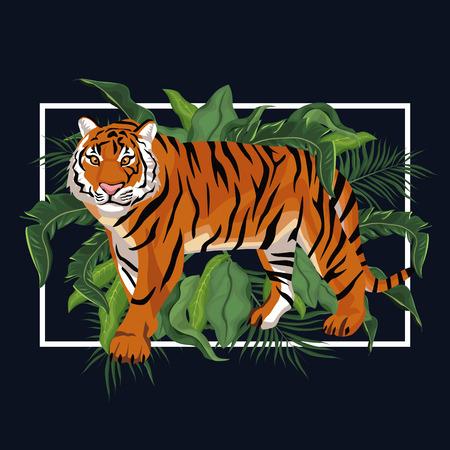 Tijger in het grafische ontwerp van de wildernis vectorillustratie