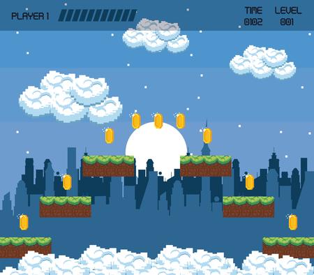 Pixelated urban videogame scenery vector illustration graphic design  イラスト・ベクター素材